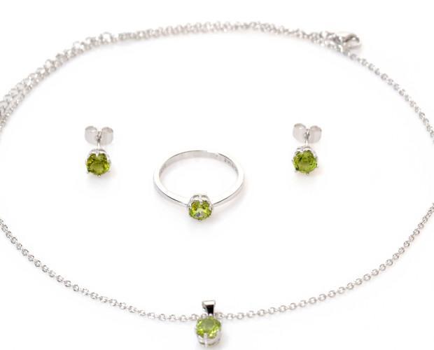 Joyas.Conjunto en acero 316 L rodiado con gemas naturales de olivina A+