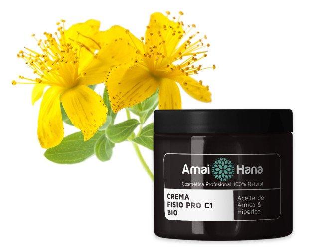 Crema Fisio Pro C1 Bio. Aceite de Árnica & Hipérico con extractos naturales y aceites esenciales antiinflamatorios.