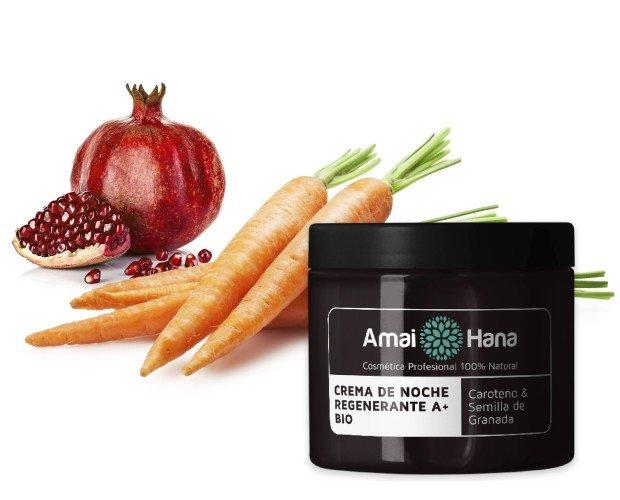 Crema de noche Regenerante A+ Bio. Aceite de Zanahoria, es un extracto rico en vitaminas A, B, C, D y E.