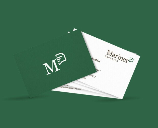 Identidad visual Mariner Asesores. Diseño de identidad visual corporativa Mariner Asesores. Logotipo y aplicaciones.