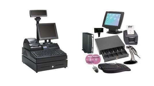 Equipamiento para comercios. TPV con cajón, impresora y lector