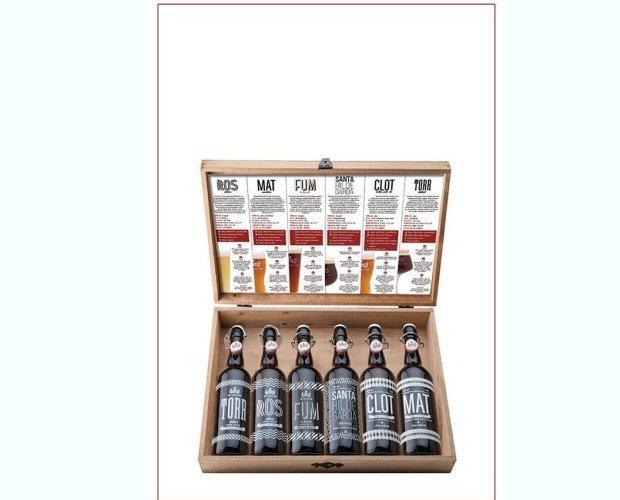 Maletin de Madera. Con una selección de 6 botellas de cerveza de 75 cl.
