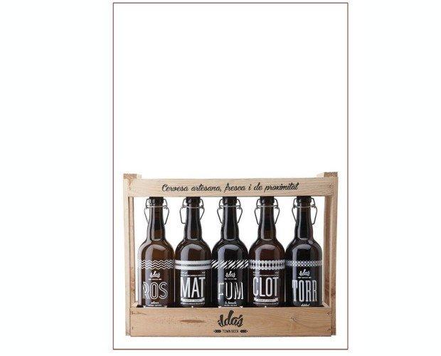 Pack madera 5 cervezas 75cl. 1 botella de cada una de las 5 cervezas ILDA'S.