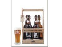 Pack madera 4 cervezas 75cl + 1 vaso
