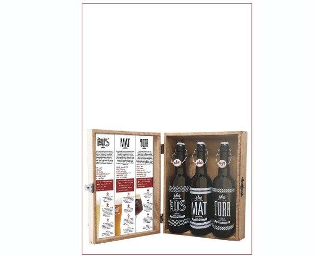 Estuche madera 3 cervezas 75cl rmt. RMT: Ross + Mat + Torr