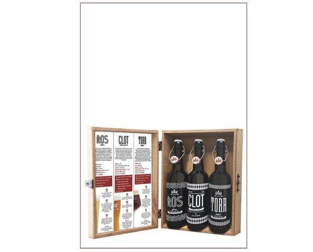 Estuche madera 3 cervezas 75cl rct. RCT: Ross + Clot + Torr