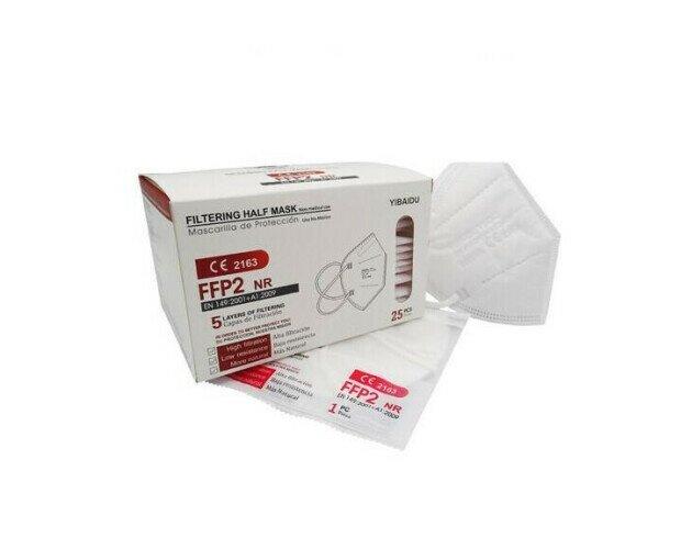Mascarillas FFP2. Con 5 capas de filtrado, caja de 25 unidades Blanca