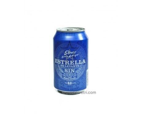 Estrella de levante sin alcohol. Lata de 33 cl