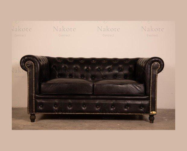 Sofás para Hoteles.Estilo vintage, tapizado en piel color marrón