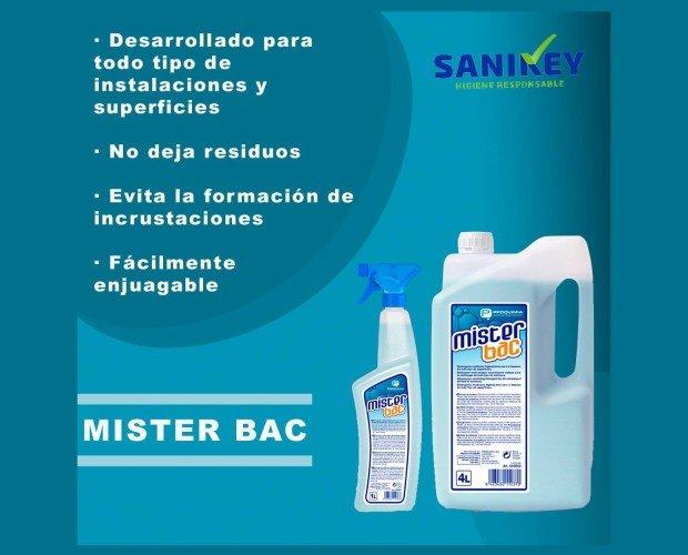 Mister Bac. Mister Bac', un detergente higienizante desarrollado para la limpieza diaria de todo tipo de instalaciones y superficies.