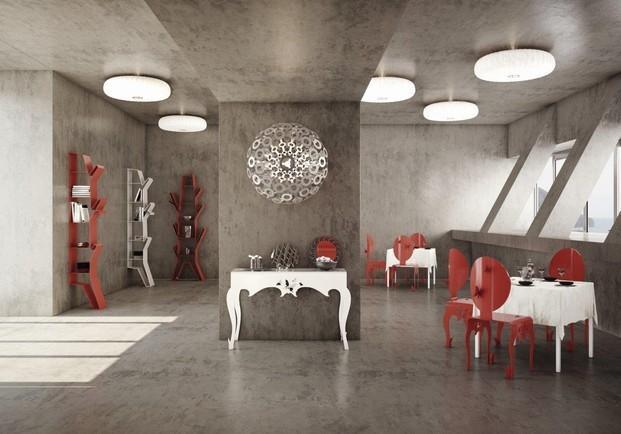 Restaurante. Restaurante con Mobiliario de Diseño.