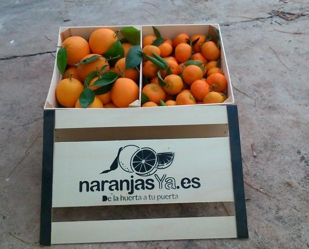 Cajas de naranjas. Naranjas de alta calidad