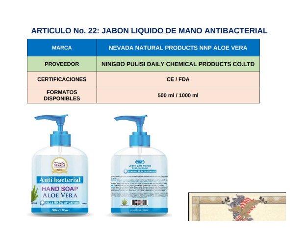 Jabón Antibacterial. Nevada natural con base a alove vera