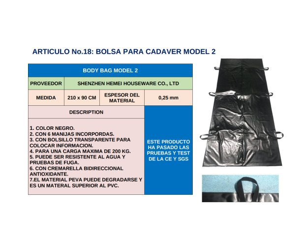 Bolsa para Trasportar Cadáveres. Modelo 2, resistente al agua y a pruebas de fuga