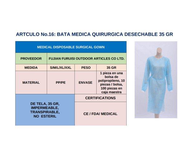 Bata Médica Desechable. Certificación CE/ FDA / Medical