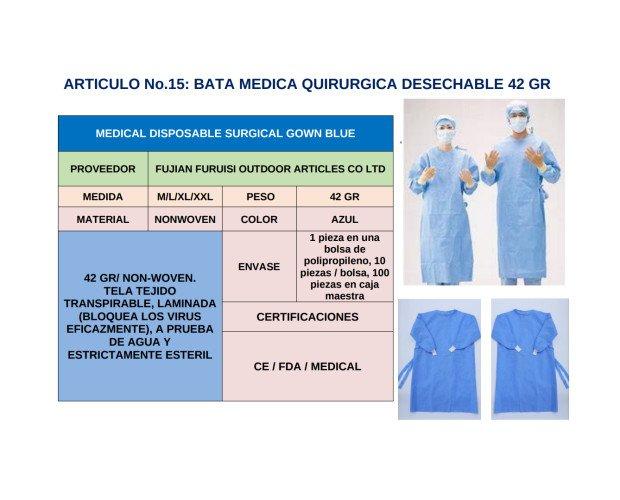 Bata Quirúrgica Desechable. Tela tejida transpirable, laminada, a prueba de agua y estrictamente estéril