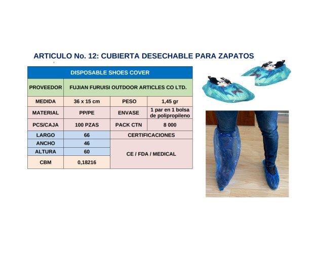 Cubierta Desechable para Zapatos. Largo 62, ancho 39, altura 33