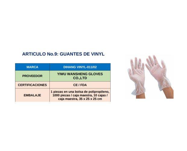 Guantes de Vinyl. 100 piezas en cada paquete, viene en caja maestra con 10 paquetes