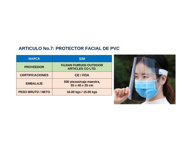 Protector Facial de PVC. Combinada con la mascarilla proporciona gran efectividad en la prevención