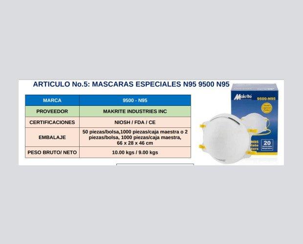Mascarilla 9500 N95. Se ajusta a la nariz con una barra de aluminio