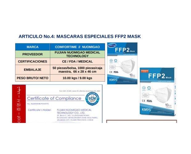 Máscaras Especiales FFP2. Empaque de 50 piezas en cada bolsa, en caja maestra, contenido total de 1000