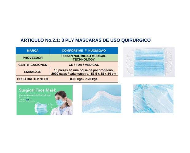 Mascarilla de Uso Quirúrgico. Nivel de filtración superior al 95%
