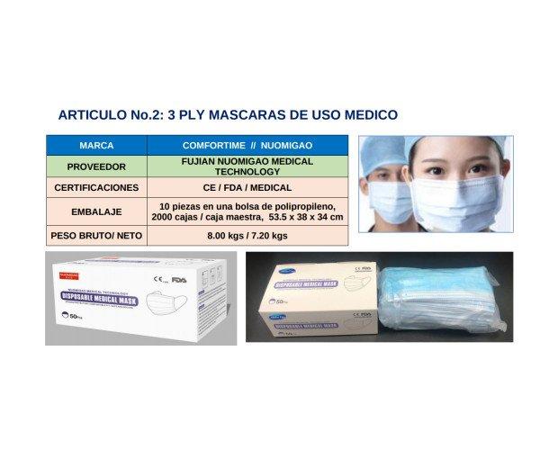 Máscarillas de Uso Médico. Con toda la certificación internacional de calidad