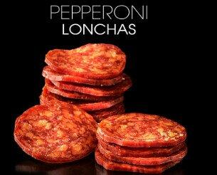 Pepperoni. Pepperoni en lonchas. Envasado en diversos formatos
