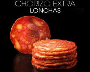 Chorizo loncheado. Distribuimos en formato industrial y pequeño envase.