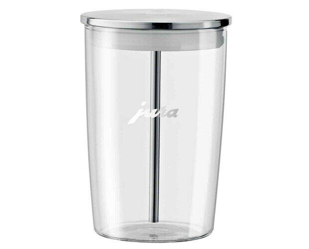 Recipiente de leche de cristal. El recipiente tiene una capacidad de 0,5 l y se puede meter en el lavavajillas.