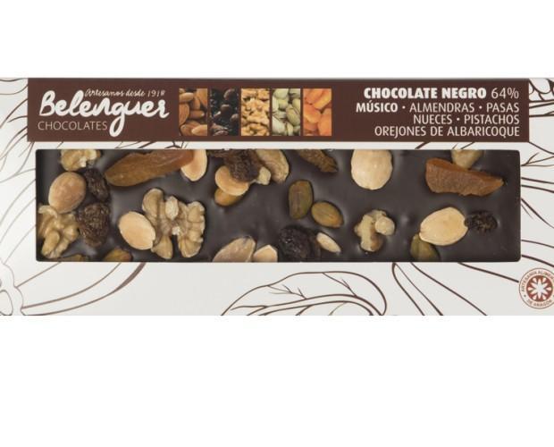 Chocolate Músico. Chocolate negro, con orejones de albaricoque, pasas, pistachos, nueces y alamendras.