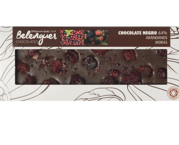 Chocolate con arándanos. Chocolate negro, con arándanos y moras liofilizadas.