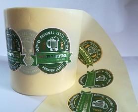 Etiqueta Cerveza. Ejemplo de etiqueta para cerveza con dos colores en estamping.