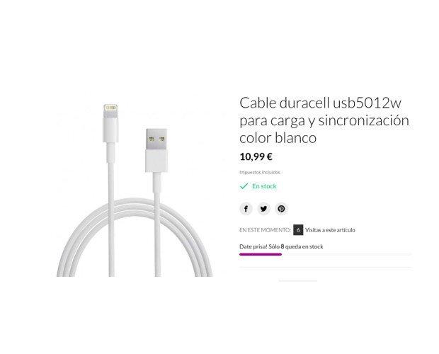 Cable iPhone. Recambio original