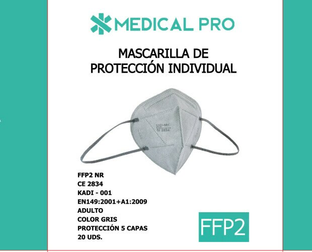 Mascarillas FFP2 Gris. Mascarilla Ffp2 Gris. Caja 20 unidades