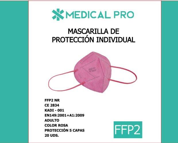 Mascarillas FFP2 Rosa. Mascarillas Ffp2 Rosa Marca Kadi Caja 20 unidades Blister individual a color