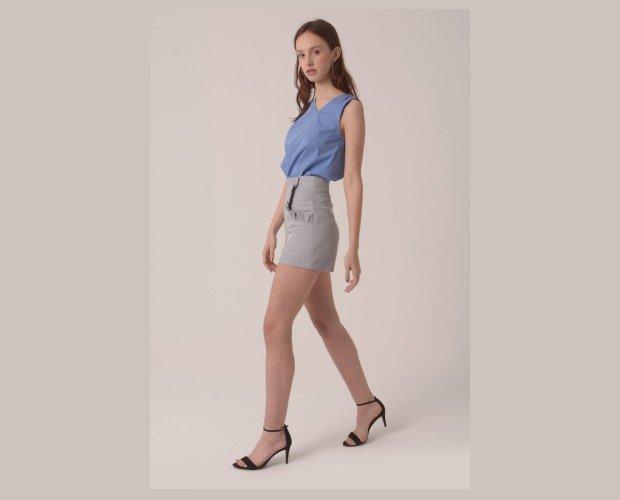 Pantalones Cortos de Mujer.Short de cintura alta con bolsillos y detalle