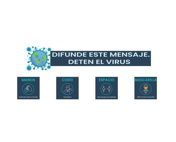 Juntos detenemos el Virus. Difunde este mensaje de prevención