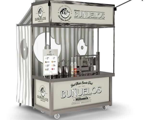 Carro de buñuelo . Carro para la venta de buñuelos, construido en acero inoxidable
