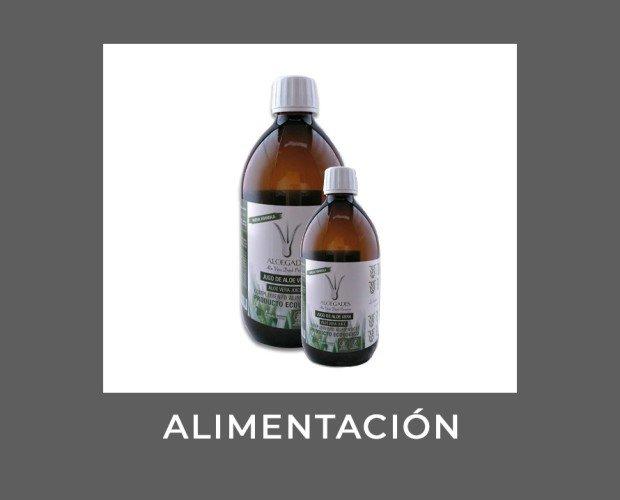 Jugo de Alove Vera. Complemento alimenticio que contiene vitaminas, minerales, aminoácidos y polisacáridos