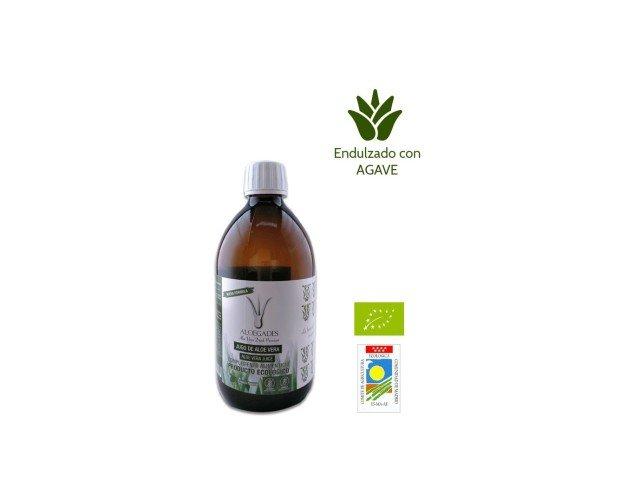 Jugo de Aloe Vera con Agave Ecologico. Jugo puro de aloe vera 100% natural con pulpa endulzado con agave