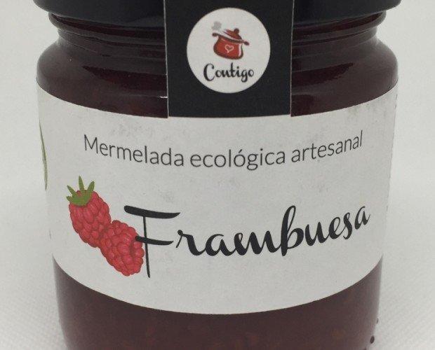 Frambuesa. Frambuesas *,azúcar semiblanco de caña**, agar-agar. Elaborado con 65g de fruta por 100g de mermelada.