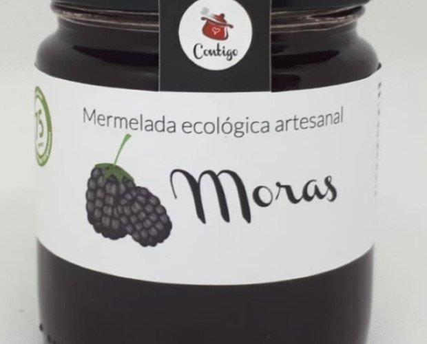 Mora. Moras*,azúcar semiblanco de caña**, agar-agar. Elaborado con 75g de fruta por 100g de mermelada.