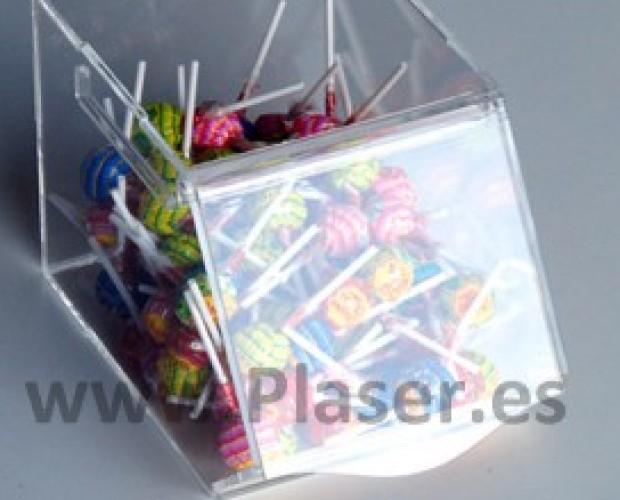 Productos Plásticos.Caramelera de metacrilato transparente con tapa deslizante hacia dentro.