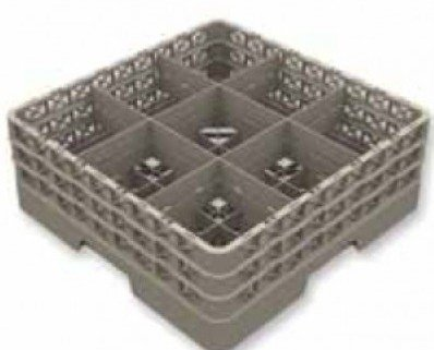 Cesta para vajilla de 9 compartimentos. Refuerzo de doble paredApilable