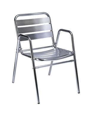 Mobiliario exterior. Sillón aluminio con doble pata