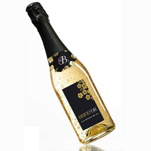 Brind 'or con oro. Carácter afrutado, fresco y joven, compuesto por unCuvée de vinos europeos muy selectos con láminas de oro de 22 kilates Esta variedad de vino espumoso se adapta perfectamente a cualquier evento o ce