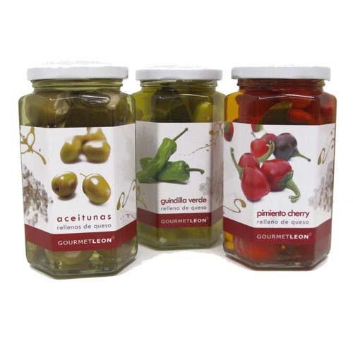 Delicatessen - GL. Guindillas Verdes rellenas de quesoAceitunas Verdes rellenas de quesoPimientos cherry rellenos de quesoBruschetta - verdura asada...