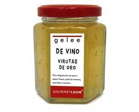 Gelee de vino con virutas de oro. Un detalle para las mejores ocasiones es nuestro GOURMET LEON gelée de vino Riesling con láminas de oro comestible