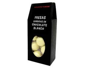 Fresas en chocolate blanco gourmet. Disponible también en chocolate negro